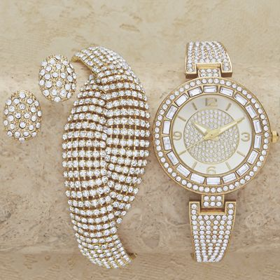 Crystal/Pave Watch/Bracelet/Earring Set