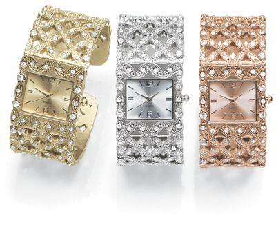 Crystal Lattice Hinged-Cuff Watch