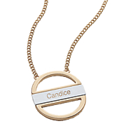personalized two tone open oval necklace