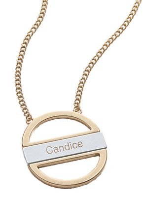 Personalized Two-Tone Open Oval Necklace