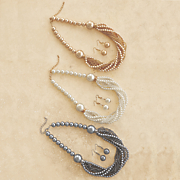 Faux-Pearl Necklace/Earring Set