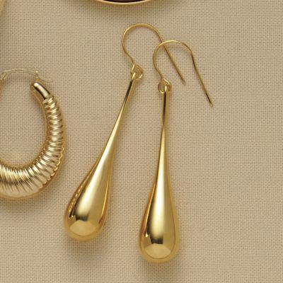 14K Gold Nano Diamond Resin Teardrop Earrings