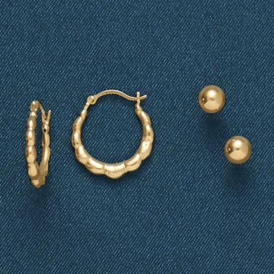 2-Pair Hoop/Post Earring Set