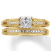 10k gold diamond round cluster bridal set