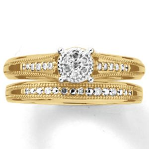 10K Gold Diamond Round Cluster Bridal Set