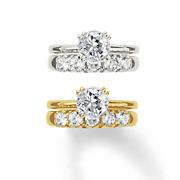 personalized 10k gold cubic zirconia bridal set