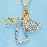 diamond gold over sterling silver angel pendant