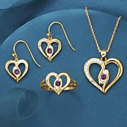 heart halo birthstone jewelry