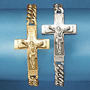 men s stainless steel crucifix bracelet