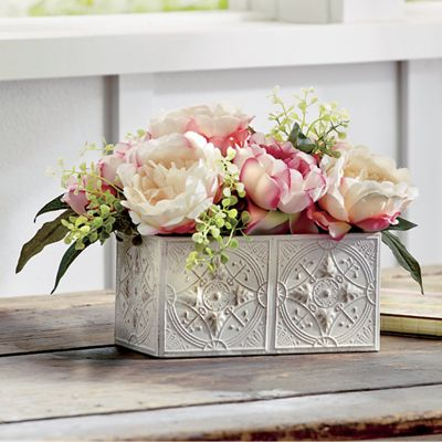 Peony in Metal Planter