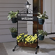 welcome plant stand with planters