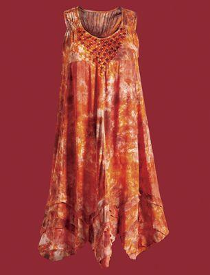 Beaded Tie-Dye Sleeveless Dress