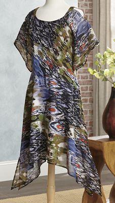 Open-Shoulder Seascape Dress