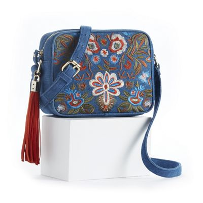 Embroidered Denim Crossbody Bag