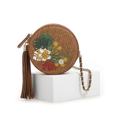 Round Tropical Woven Crossbody Bag