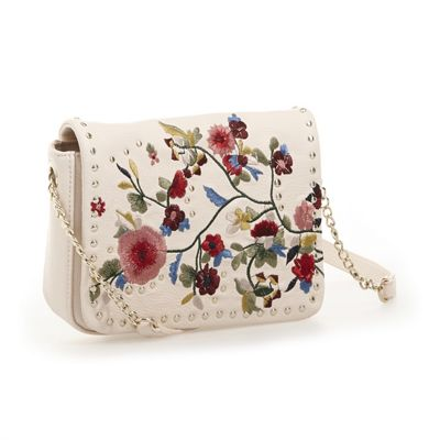 Embroidered Floral Flap Crossbody