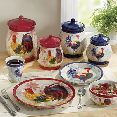 Watercolor Rooster Canister Set