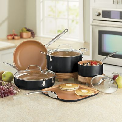 Copper Colored Ceramic Finish Cookware Set From Seventh