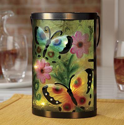 Solar Glass Butterfly Lantern