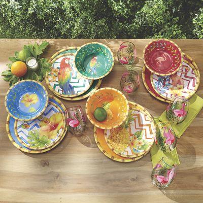 Melamine Vintage Miami Dinnerware Set