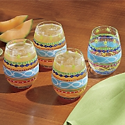 4 pc  multicolor stemless wine glass set