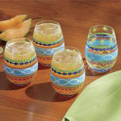 Multicolor Stemless Wine Glass Set