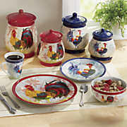 16 pc watercolor rooster dinnerware set & Dinnerware | Rooster Dinnerware Square Dish Sets | Seventh Avenue