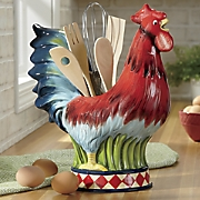 Rooster Caddy with Utensil Set