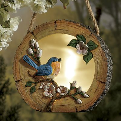 Log Lantern with Bluebird