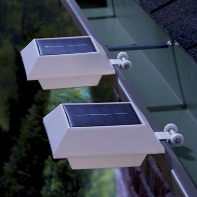 Set of 2 White Solar Gutter Lights
