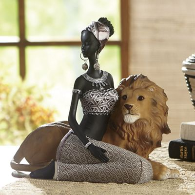 African Lady and Lion Figurine