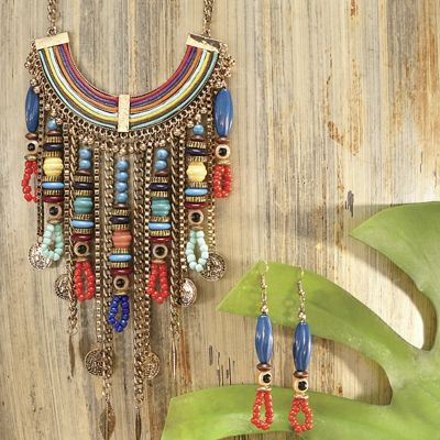 Multicolor Bead Necklace and Earring Set
