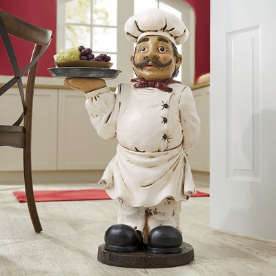 Chef Statue with Tray