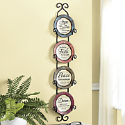 4 pc  sentiment plates with holder set