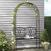 Scrolled Metal Garden Arch and Bench