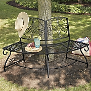 Scrolled Metal Tree Bench