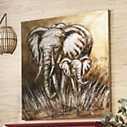 safari mother and calf canvas