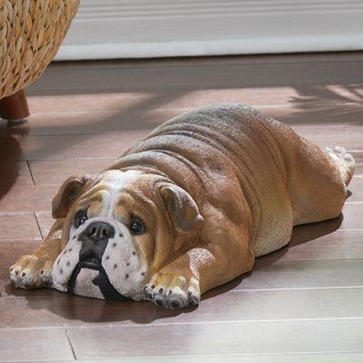 Lounging Bulldog Statue