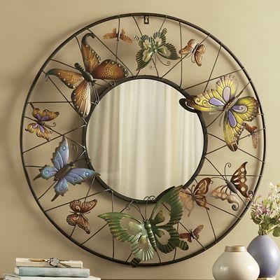 Circular Butterfly Mirror