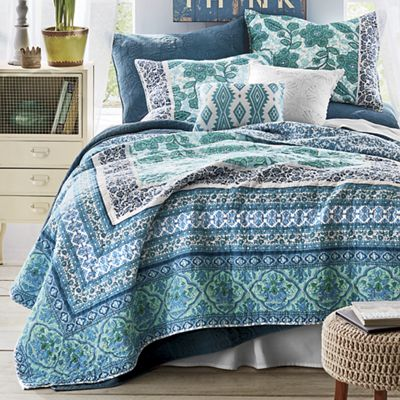 Aqua Flora Quilt, Accent Pillow and Sham by Jessica Simpson
