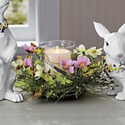 lit pink floral candle holder