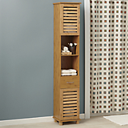 Bamboo-Finish Tall Towel Cabinet