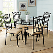 abbey lane scroll table and set of 2 dining chairs
