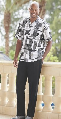 Men's Printed Shirt with Pant by Stacy Adams