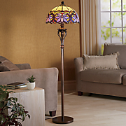 floral stained glass floor lamp