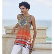 Bright-Print Crochet Top