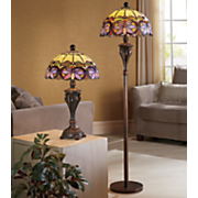 floral stained glass table and floor lamps