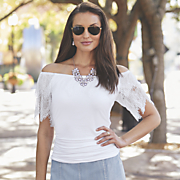 Lace Trim Ruched Top