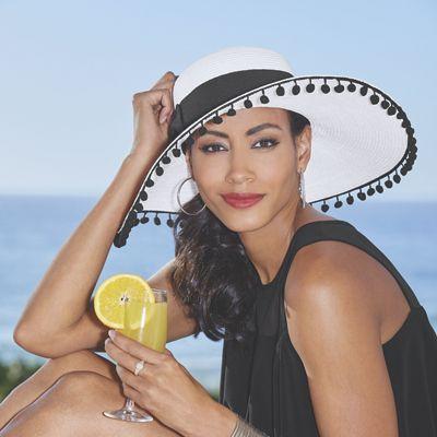 Sun Hat with Pom Trim