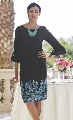 Embroidered Black Shift Dress